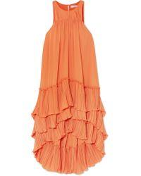 Robe En Georgette Plissée À Superpositions Halston Heritage en coloris Orange