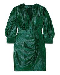 Maje Green Rexy Minikleid Aus Lamé Mit Rüschen