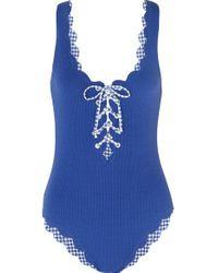 Marysia Swim Blue Palm Springs Badeanzug Aus Stretch-crêpe Mit Wellenkanten Und Schnürung