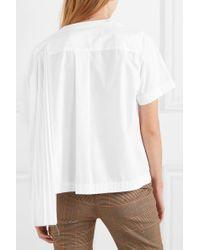 Sacai White Asymmetrisches T-shirt Aus Popeline Mit Falten