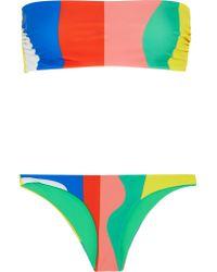 Mara Hoffman Pink Striped Bandeau Bikini
