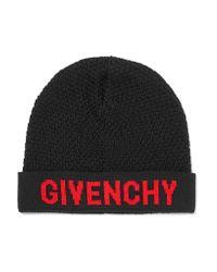 Givenchy - Black Intarsia Wool Beanie - Lyst