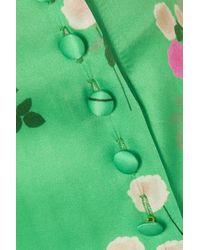 Jupe Midi En Satin De Soie Mélangée À Imprimé Fleuri Kelly BERNADETTE en coloris Green
