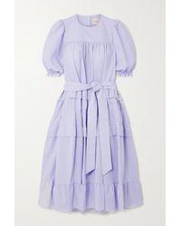 &Daughter Blue + Net Sustain Josephine Pinstriped Organic Cotton-seersucker Dress