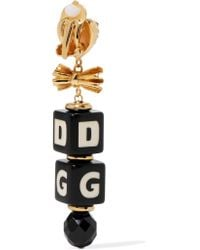 Dolce & Gabbana - Metallic Gold-plated, Swarovski Crystal And Resin Clip Earrings - Lyst