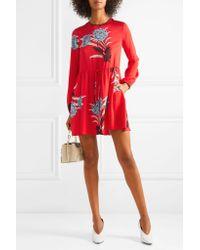 Diane von Furstenberg Red Floral-print Stretch-silk Georgette Mini Dress