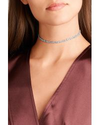 Anissa Kermiche - Riviera 18-karat White Gold, Sapphire And Mother-of-pearl Choker White Gold One Size - Lyst