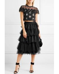 Needle & Thread Black Lustre Cropped Embellished Tulle Top