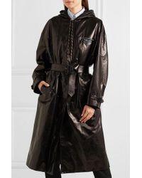 Prada Black Hooded Patent-leather Trench Coat