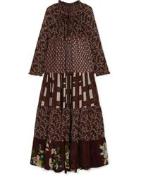 Yvonne S Brown Hippy Gestuftes Maxikleid Aus Crêpe De Chine Mit Print