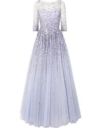 Jenny Packham Blue Charisse Robe Aus Tüll Mit Verzierungen