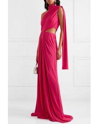 Robe Longue Asymétrique En Jersey Stretch À Drapé Honey X Venyx Saloni en coloris Pink