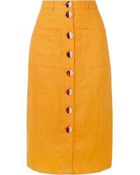 Nicholas Orange Button-embellished Linen Midi Skirt