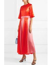 Deitas Red Julieta Zweifarbiges Kleid Aus Seidensatin