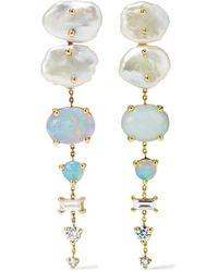 Wwake Metallic Net Sustain 14-karat Gold Multi-stone Earrings