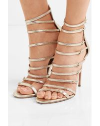 Aquazzura - + Claudia Schiffer Star Embellished Metallic Textured-leather Sandals - Lyst