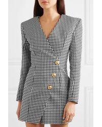 Mini-robe Effet Portefeuille En Jacquard De Coton Mélangé Pied-de-poule Balmain en coloris Gray