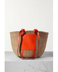Chloé Orange Tasche Aus Raffiabast Mit Lederbesätzen