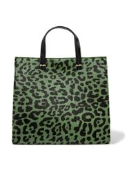 Clare V. | Green Petit Leopard-print Calf Hair And Leather Tote | Lyst