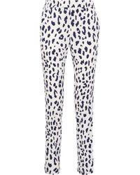 Tibi - White Leopard-print Silk Straight-leg Pants - Lyst