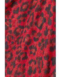 Hanky Panky Red + Net Sustain On The Prowl String-body Aus Stretch-spitze Mit Leopardenprint