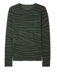 Proenza Schouler Green Printed Cotton-jersey Top
