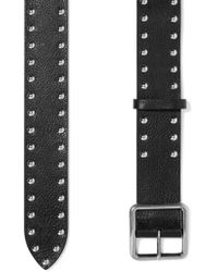 Alexander McQueen - Black Studded Textured-leather Belt - Lyst