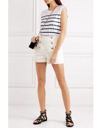 Balmain White Button-embellished Denim Shorts