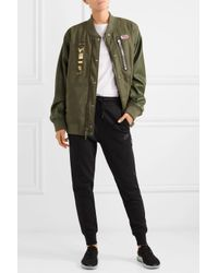 Nike - Green + Riccardo Tisci Embellished Appliquéd Wool-blend Felt And Faux Leather Bomber Jacket - Lyst