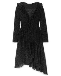 Philosophy Di Lorenzo Serafini Black Asymmetrisches Kleid Aus Metallic-strick Mit Rüschen