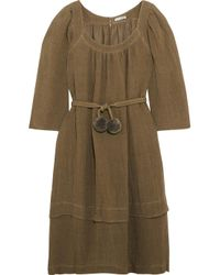 Three Graces London - Green Ilara Pompom-embellished Linen-blend Dress - Lyst