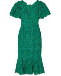Dolce & Gabbana Green Midikleid Aus Schnurgebundener Spitze Mit Rüschen