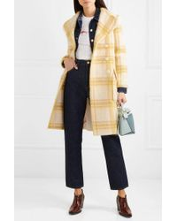 AlexaChung Yellow Belted Checked Wool-blend Coat