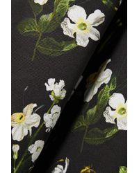 Erdem Black Farrah Verziertes Midikleid Aus Twill Mit Blumenprint Und Gürtel