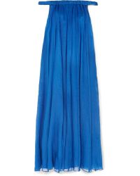 Three Graces London - Blue Evangeline Off-the-shoulder Ramie Maxi Dress - Lyst
