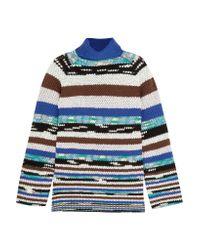 Missoni - Blue Striped Wool-blend Turtleneck Sweater - Lyst