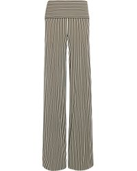 Norma Kamali - Black Striped Stretch-jersey Wide-leg Pants - Lyst