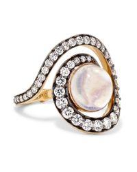 Noor Fares - Metallic Spiral Planet 18-karat Gold Multi-stone Ring - Lyst