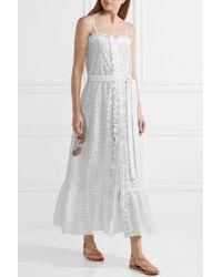 Lisa Marie Fernandez - White Ruffled Broderie Anglaise Cotton Maxi Dress - Lyst