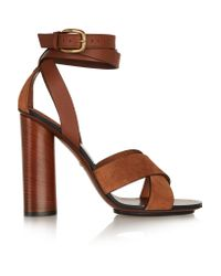Gucci | Brown Leather And Suede Sandals | Lyst