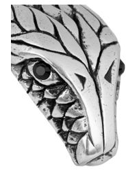 Saint Laurent - Metallic Silver-tone Crystal Snake Cuff - Lyst