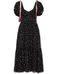 LoveShackFancy Black Angie Gathered Floral-print Silk-georgette Maxi Dress