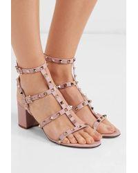 Sandales En Cuir Rockstud 60 Garavani Valentino en coloris Pink