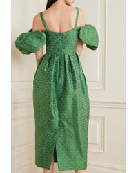 Rosie Assoulin Green Brocade Off-the-shoulder Dress