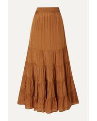 Mes Demoiselles Brown Mazera Tiered Satin Skirt