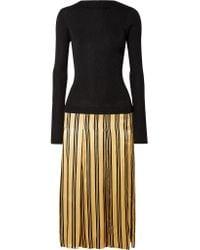 By Malene Birger - Black Lorenas Ribbed-knit And Striped Satin Midi Dress - Lyst