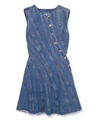 Mugler Blue Minikleid Aus Denim Mit Fransen
