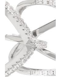 Kenneth Jay Lane - Metallic Rhodium-plated Cubic Zirconia Two-finger Ring - Lyst