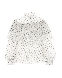 Rodarte - White Ruffled Embellished Tulle Blouse - Lyst