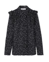 FRAME - Black Ruffled Printed Silk Shirt - Lyst